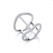 Sterling silver Cubic Zirconia knuckle ring
